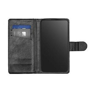 Capa Flip Carteira Preta para Samsung Galaxy J5 Metal