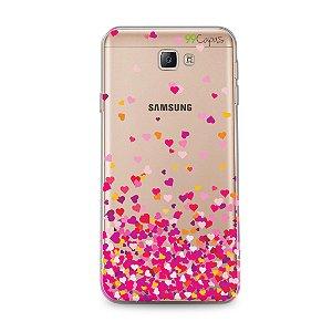 Capa para Samsung Galaxy J7 - Corações Rosa