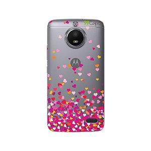 Capa Moto E4 - Corações Rosa