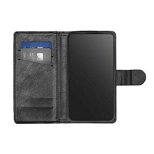 Capa Flip Carteira Preta para Moto E4 Plus