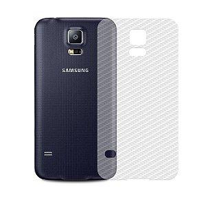 Película de Fibra de Carbono Traseira Transparente para Galaxy S5 - 99capas
