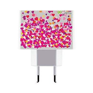 Carregador Personalizado Duplo USB de Parede - Corações Rosa