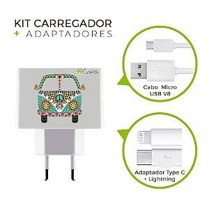 Kit Carregador Personalizado Duplo USB de Parede - Kombi