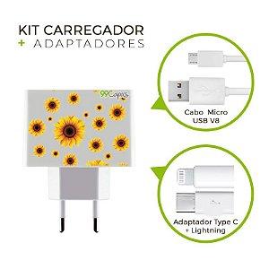 Kit Carregador Personalizado Duplo USB de Parede - Girassóis