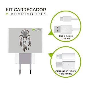 Kit Carregador Personalizado Duplo USB de Parede - Filtro dos Sonhos