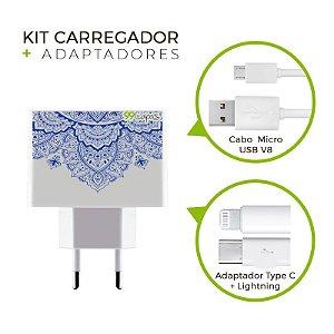 Kit Carregador Personalizado Duplo USB de Parede + Cabo Micro Usb Personalizado + Adaptador Type C e Lightning - Mandala Azul