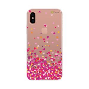 Capa para Apple iPhone X - Corações Rosa