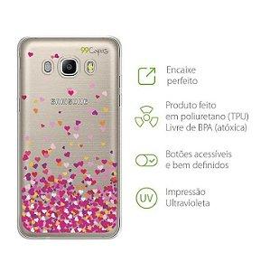 Capa para Galaxy J7 Neo - Corações Rosa