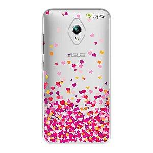 Capa para Zenfone GO ZC500TG - Corações Rosa