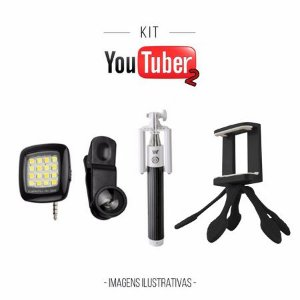 Kit Youtuber2 - Mini Flash Preto + Bastão de Selfie + Lentes Fish Eyes + Octapod Preto
