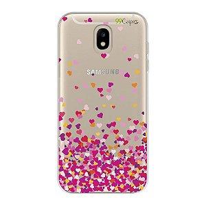 Capa para Samsung Galaxy J7 Pro - Corações Rosas