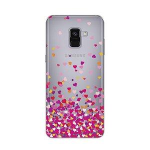 Capa para Galaxy A8 Plus 2018 - Corações Rosa