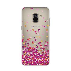 Capa para Galaxy A8 2018 - Corações Rosa