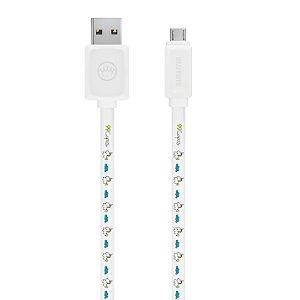 Cabo Micro USB Branco Personalizado - Unicórnio