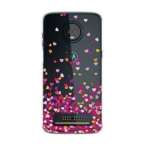 Capa para Moto Z3 Play - Corações Rosa