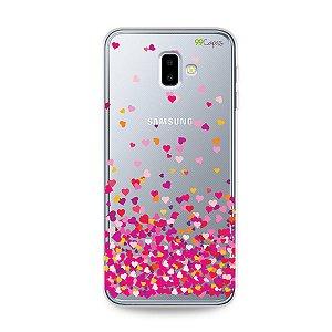 Capa para Galaxy J6 Plus - Corações Rosa