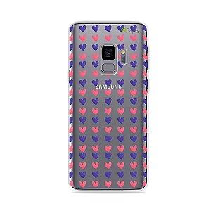 Capa para Galaxy S9 - Corações Roxo e Rosa