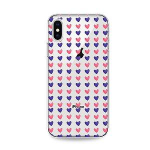 Capa para iPhone X/XS - Corações Roxo e Rosa
