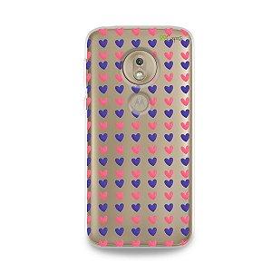 Capa para Moto G7 Play - Corações Roxo e Rosa