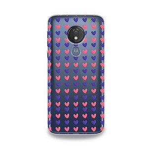 Capa para Moto G7 Power - Corações Roxo e Rosa