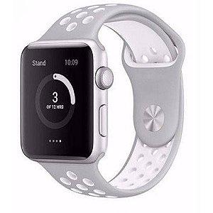 Pulseira esportiva para Apple Watch cinza com branco - 38/40 mm - 99Capas