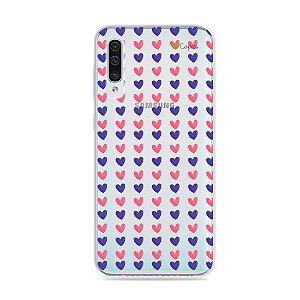Capa para Galaxy A50 - Corações Roxo e Rosa