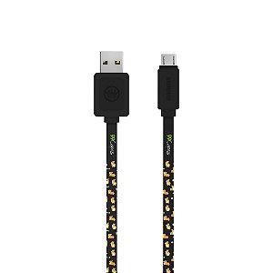 Cabo Micro USB Preto Personalizado - Cãozinho