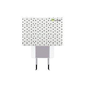 Carregador Personalizado Duplo USB de Parede - Corações Preto