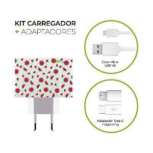 Kit Carregador Personalizado Duplo USB de Parede + Cabo Micro Usb Personalizado + Adaptador Type C  e Lightning - Mini Melancias
