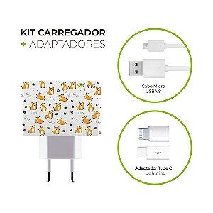 Kit Carregador Personalizado Duplo USB de Parede - Cãozinho