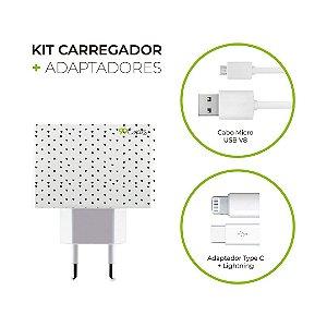 Kit Carregador Personalizado Duplo USB de Parede + Cabo Micro Usb Personalizado + Adaptador Type C e Lightning  - Corações Preto