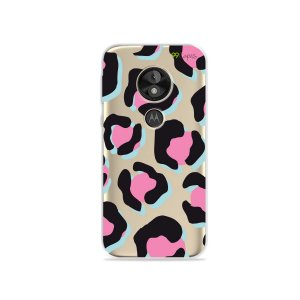 Capa para Moto E5 Play - Animal Print Black & Pink