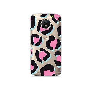 Capa para Moto G5S - Animal Print Black & Pink