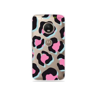 Capa para Moto G5 Plus - Animal Print Black & Pink