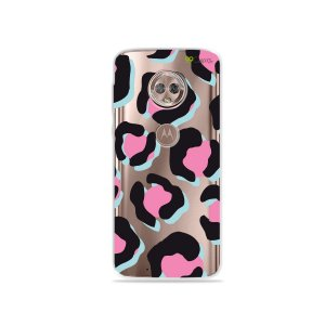 Capa para Moto G6 - Animal Print Black & Pink