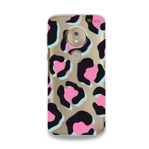 Capa para Moto G7 Play - Animal Print Black & Pink