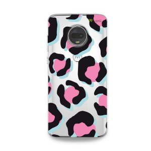 Capa para Moto G7 - Animal Print Black & Pink