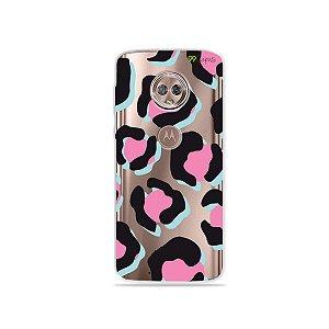 Capa para Moto G6 Plus - Animal Print Black & Pink