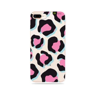 Capa para iPhone 7 Plus - Animal Print Black & Pink