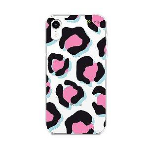 Capa para iPhone XR - Animal Print Black & Pink