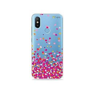Capa para Xiaomi Mi 8 - Corações Rosa