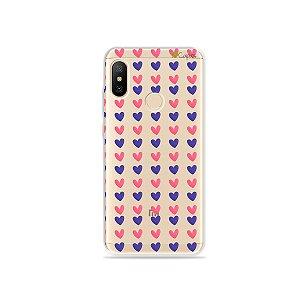 Capa para Xiaomi Mi A2 Lite - Corações Roxo e Rosa