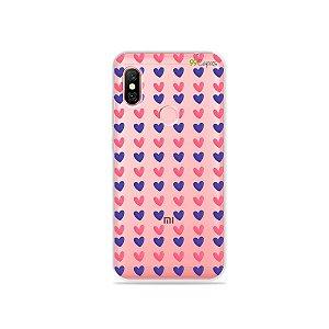 Capa para Xiaomi Redmi Note 6 Pro - Corações Roxo e Rosa