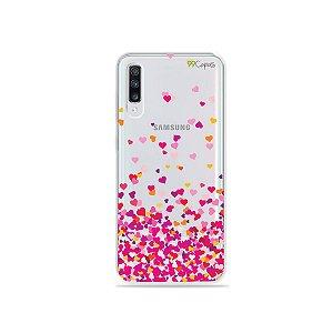Capa para Galaxy A70 - Corações Rosa