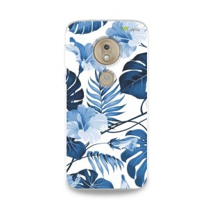 Capa para Moto G7 Play - Flowers in Blue