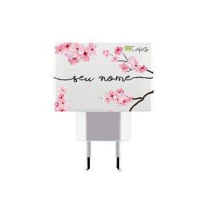 Carregador Duplo USB de Parede Personalizado Com Nome - Cerejeiras