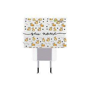 Carregador Duplo USB de Parede Personalizado Com Nome - Cãozinho