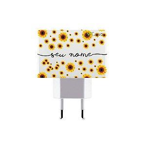 Carregador Duplo USB de Parede Personalizado Com Nome - Girassóis
