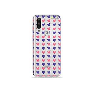 Capa para Moto One Action - Corações Roxo e Rosa