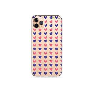 Capa para iPhone 11 Pro Max - Corações Roxo e Rosa